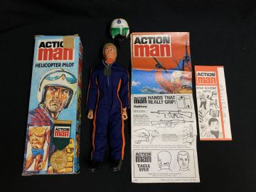 ACTION BOXED VINTAGE HELICOPTER PILOT with EAGLE EYES - BOXED ref 3